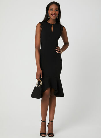 Lace Detail Midi Dress, Black, hi-res