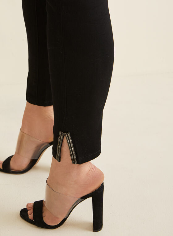 Jeans coupe cité à détails cristaux, Noir