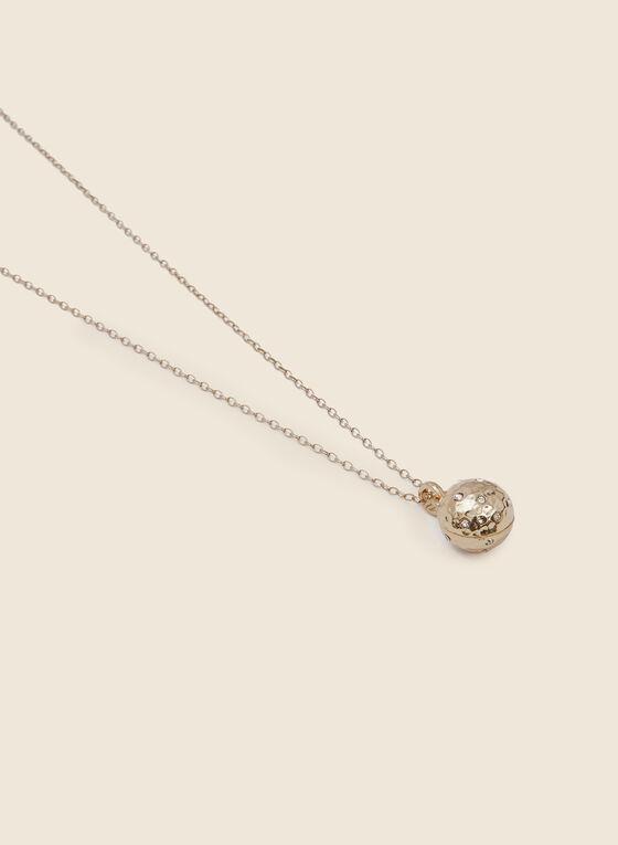 Collier long avec pendentif boule et cristaux, Or