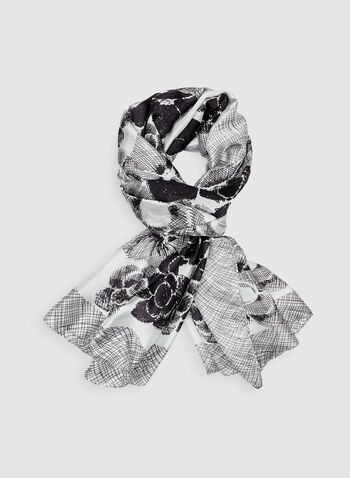 Monochrome Floral Print Scarf, Black, hi-res