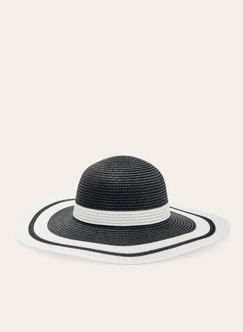 Colour Block Cloche Straw Hat, Black, hi-res