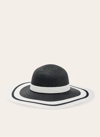 Chapeau cloche rayé en paille, Noir, hi-res
