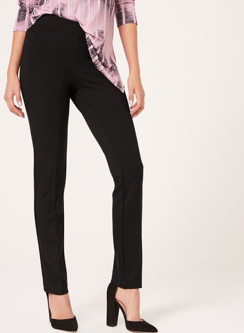 Signature Fit Pull-On Slim Leg Pants, Black, hi-res