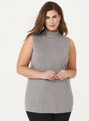 Sleeveless Funnel Neck Sweater, Grey, hi-res