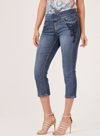 Frankie & Stella - Capri pull-on en denim avec broderies , Bleu, hi-res