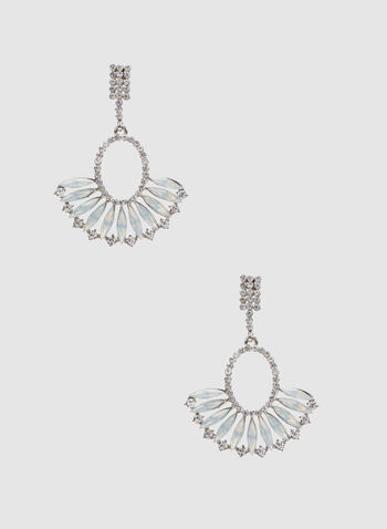 Crystal Fan Dangle Earrings, White, hi-res