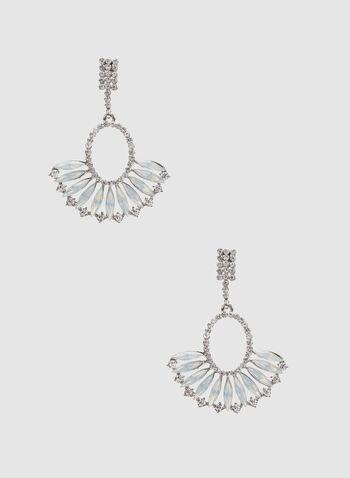 Boucles d'oreilles à pierres nacrées et cristaux, Blanc, hi-res