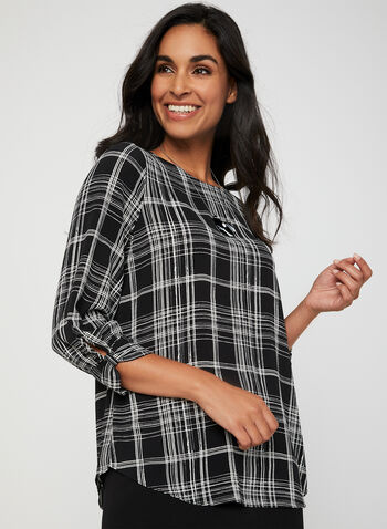 Plaid Print Crepe Blouse, Black,  blouse, plaid print, crepe, back keyhole, 3/4 sleeves, fall 2019, winter 2019