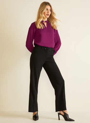 Belted Wide Leg Pants, Black,  pants, wide leg, belt, pleats, pockets, high waist, fall winter 2020