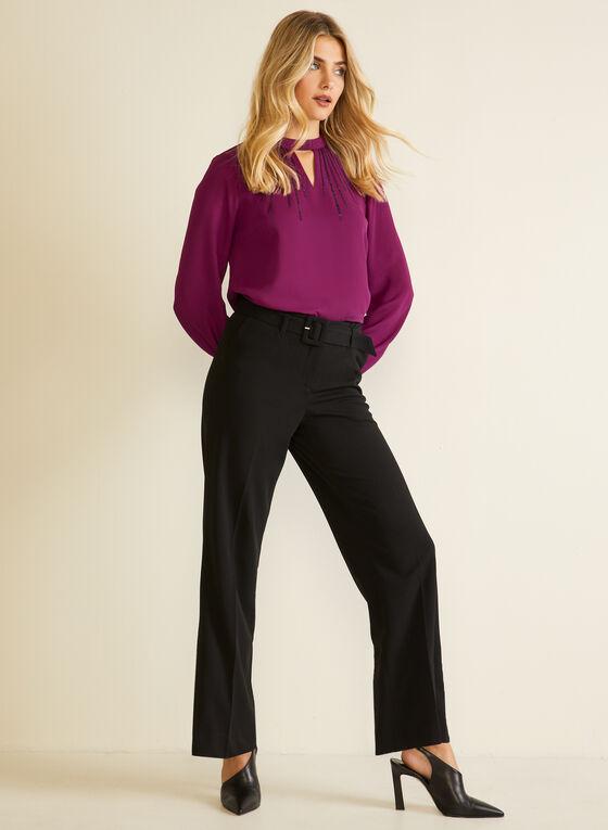 Pantalon ceinturé à jambe large  , Noir