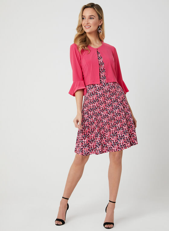 Dot Print Dress & Bell Sleeve Bolero, Red, hi-res