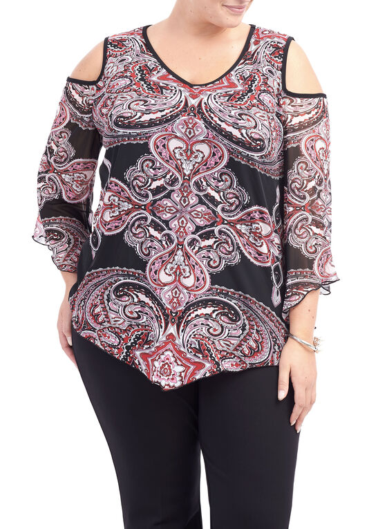 Printed Cold Shoulder Tunic Top, Red, hi-res