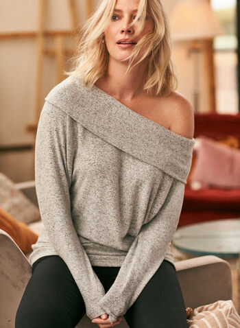 Marilyn Neckline Knit Top, Grey,  top, knit, sweater, boat neck, foldover, long sleeves, fall winter 2020