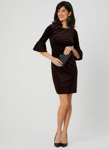 Velvet Glitter Dress, Red, hi-res,