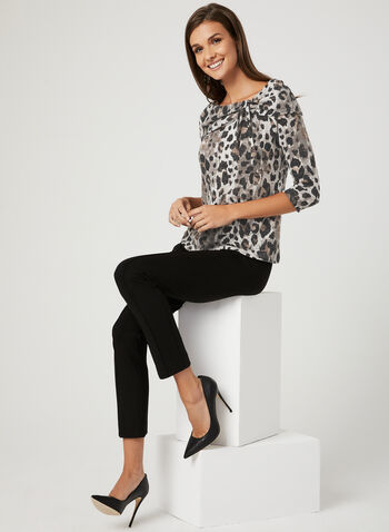 Animal Print ¾ Sleeve Top, Black, hi-res