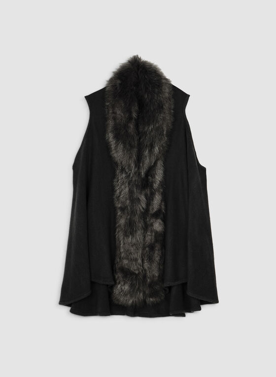 Faux Fur Knit Vest, Black, hi-res