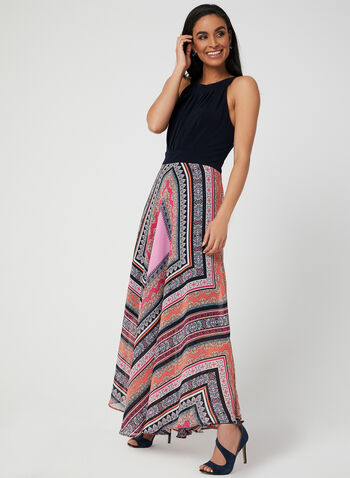 Aztec Print Maxi Dress, Blue, hi-res