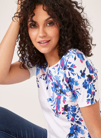 Short Sleeve Floral Print Top, Blue, hi-res