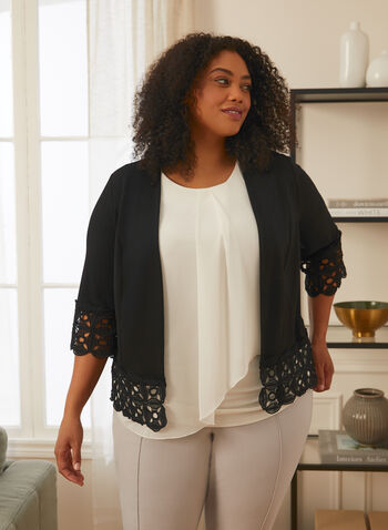 Lace Detail Open Front Top, Black,  top, open front, crochet lace, 3/4 sleeves, crepe, spring summer 2021