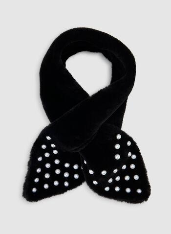 Écharpe en fausse fourrure et perles, Noir, hi-res,  foulard, fausse fourrure, passant, perles, automne hiver 2019