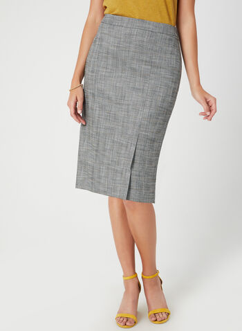 Plaid Print Straight Skirt, Black, hi-res