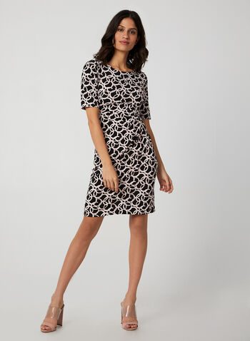Ring Print Jersey Dress, Black, hi-res,  dress, day dress, elbow sleeves, jersey, print, fall 2019, winter 2019