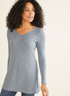Long Sleeve Knit Tunic, Blue