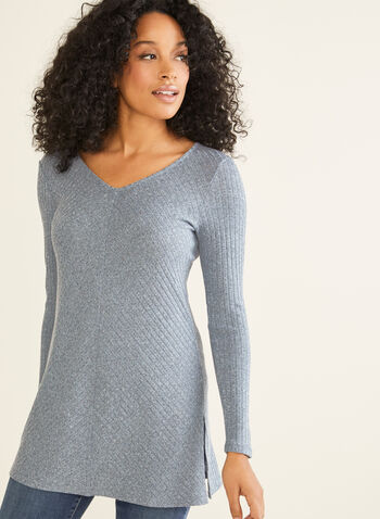 Long Sleeve Knit Tunic, Blue,  tunic, knit, v-neck, long sleeves, made in canada, fall winter 2019
