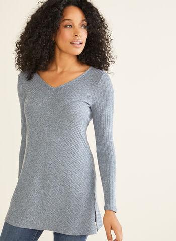 Tunique asymétrique en tricot texturé, Bleu,  Fait au Canada, manches longues, tricot, automne hiver 2019