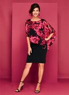 Large Floral Print Cold Shoulder Poncho Dress, Red, hi-res