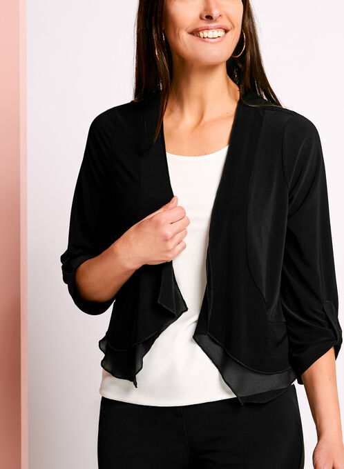 3/4 Sleeve Jersey Bolero, Black, hi-res