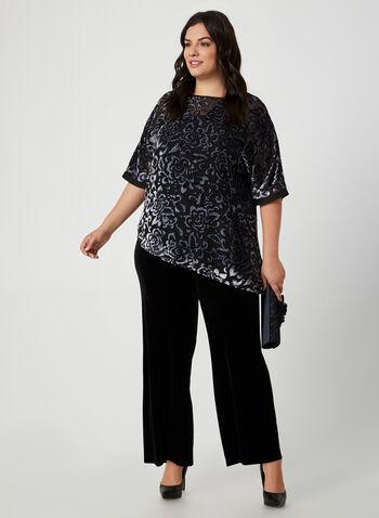 Blouse floquée à manches kimono, Bleu,  blouse, manches kimono, fleurs, floqué, asymétrie, automne hiver 2019