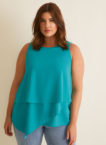 Crepe Sleeveless Blouse, Blue,  blouse, top, crepe, sleeveless, scoop neck, layered, tiered, keyhole, spring summer 2020
