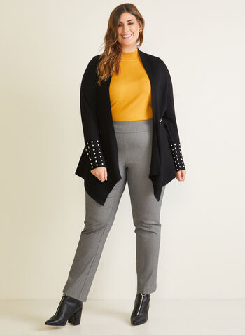 Stud Detail Cardigan, Black,  cardigan, long sleeves, stud, ribbed knit, asymmetric, fall winter 2020