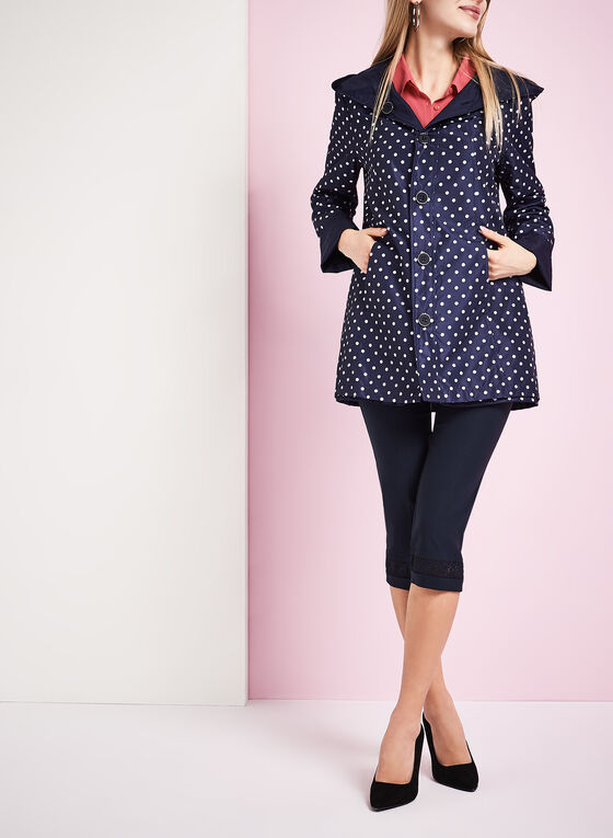 Reversible A-Line Dot Print Raincoat, Blue, hi-res