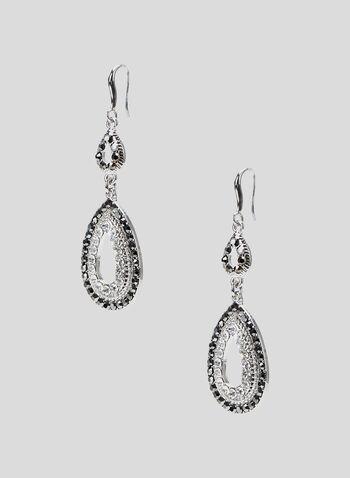 Boucles d'oreilles ajourées à cristaux, Gris, hi-res
