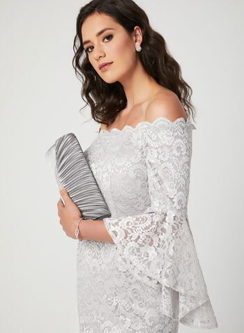 Glitter Lace Off The Shoulder Dress, Silver, hi-res