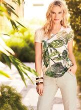 T-shirt motif exotique et brillants, , hi-res