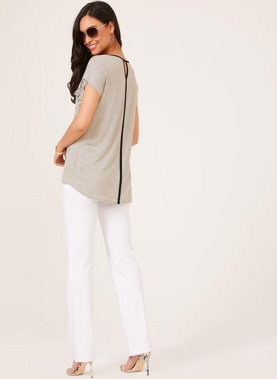 Stripe Print T-Shirt With Floral Appliqué, Brown, hi-res