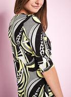 Haut à imprimé patchwork avec encolure drapée , Noir, hi-res