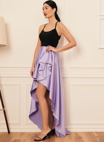 High Low Ball Gown, Purple,  prom dress, ball gown, scoop neck, satin, jersey, sleeveless, open back, flounce, high low, pockets, crinoline, spring summer 2021