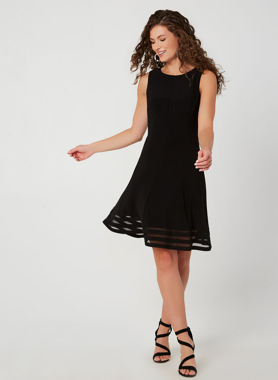 Ensemble robe et boléro à détails en maille filet, Noir