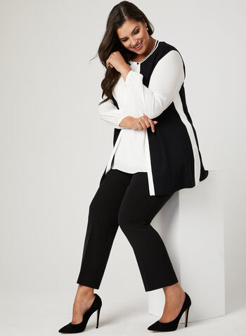 Contrast Knit Vest, Black, hi-res