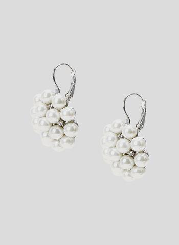 Pearl Cluster Earrings, Off White, hi-res