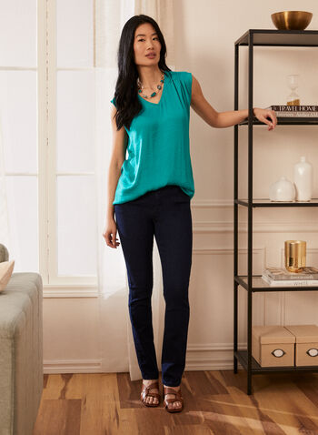 Cap Sleeve V-Neck Blouse, Green,  top, blouse, v-neck, cap sleeves, spring summer 2021