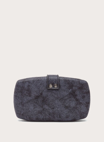 Ring Embellished Metallic Box Clutch, Grey, hi-res
