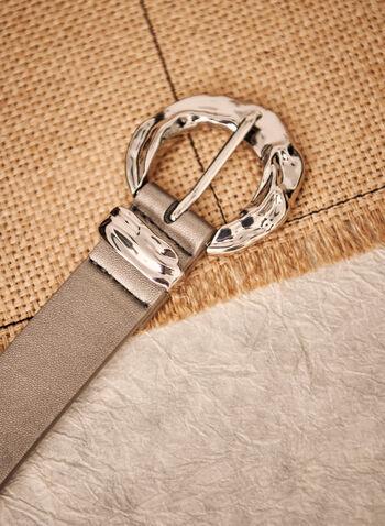 Hammered Buckle Belt, Grey,  accessories, belt, buckle, fall winter 2021
