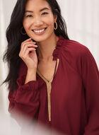 Embellished Collar Blouse, Red