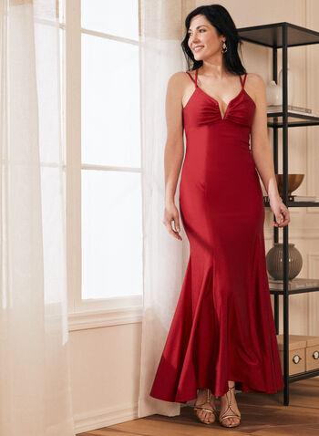 Robe sirène à col cœur et dos lacé, Rouge,  robe de bal, robe, sirène, col cœur, dos lacé, jersey satiné, printemps été 2021