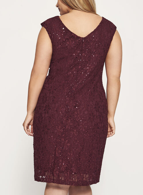 Sequined Lace Cutout Dress, Red, hi-res